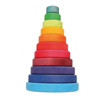 Duża kolorowa wieża stożkowa - Grimm's Grimms - Zabawka drewniana - Montessori