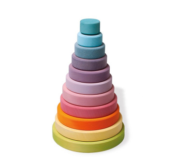 Duża pastelowa wieża stożkowa - Grimm's Grimms - Zabawka drewniana - Montessori