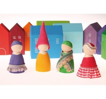 Siedmioro tęczowych przyjaciół w misach 1+ - Grimm's Grimms - Zabawka drewniana - Montessori