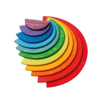 Duże kolorowe półokręgi - przekładki - 11-elementów 1+ - Grimm's Grimms - Zabawka drewniana - Montessori