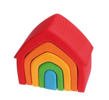 Kolorowy dom 5-elementowy 1+ - Grimm's Grimms - Zabawka drewniana - Montessori
