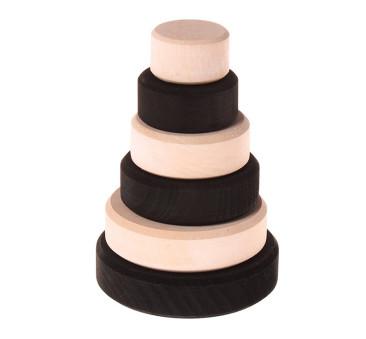 Czarno-biała stożkowa wieża, kolekcja naturalna - Grimm's Grimms - Zabawka drewniana - Montessori