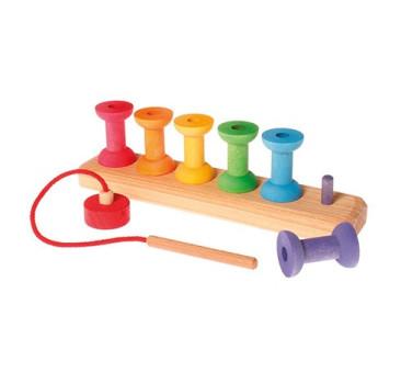 Małe kolorowe szpulki 1+, Grimm's Grimms - Zabawka drewniana - Montessori