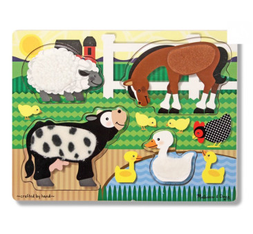 Puzzle Dotykowe Dotknij i Poczuj Zwierzęta z Farmy - Melissa & Doug - Montessori