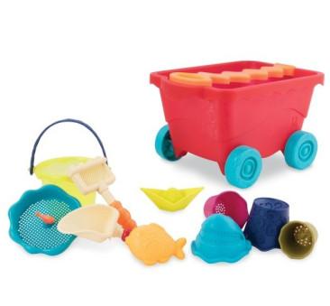 Wózek - Wagon z akcesoriami plażowymi - czerwony - Wavy-Wagon - BTOYS