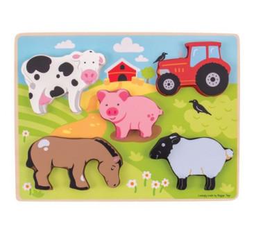 Drewniana Układanka Farma - Bigjigs Toys - Montessori