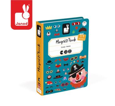 Magnetyczna układanka Śmieszne buzie Chłopiec Magnetibook Kolekcja - Janod