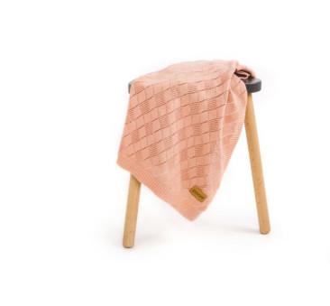 Kocyk ażurowy - brzoskwiniowy - 75x90cm - Poofi