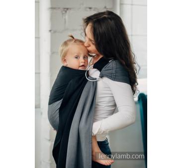 OBSYDIAN - Moja pierwsza chusta kółkowa do noszenia dzieci - tkana splotem skośno - krzyżowym - bawełniana - ramię bez zakładek