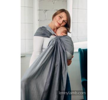 Moja pierwsza chusta kółkowa do noszenia dzieci - OBSYDIAN, tkana splotem skośno - krzyżowym - bawełniana - ramię bez zakładek