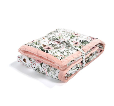 Koc/Narzuta - 140x200 cm - Wild Blossom - Powder Pink - Velvet Collection - La Millou