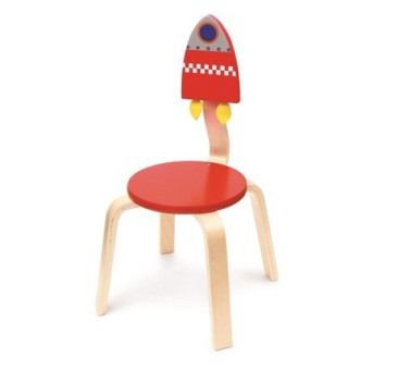 Rakieta Drewniane Krzesło Dziecięce - Scratch - Krzesełko Dla Dziecka