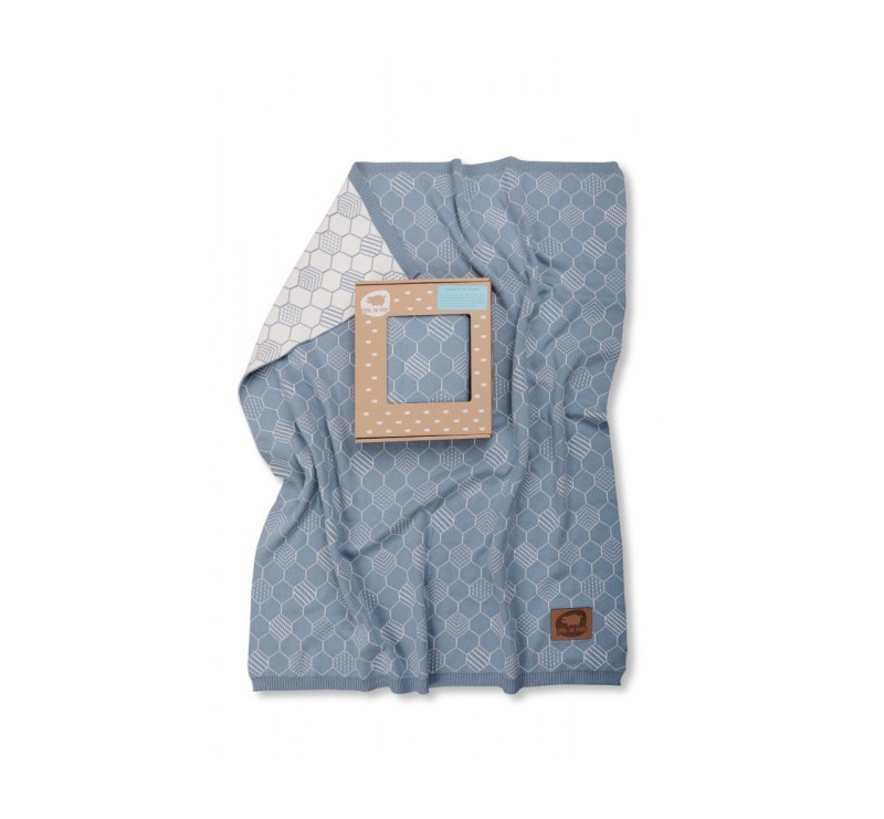 Kocyk tkany heksagony niebiesko-biały - 75 x 90 cm - Pink No More