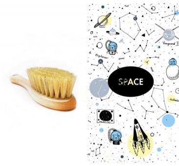 Szczotka z naturalnego włosia z myjką bambusową - space - LullaLove