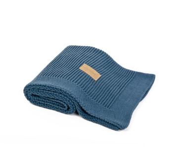 Kocyk tkany z bawełny organicznej - morski - Poofi