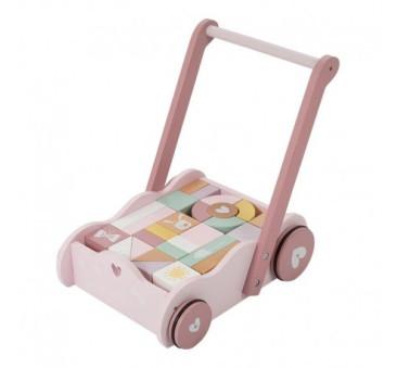 Wózek z klockami Pink - Różowy - Little Dutch