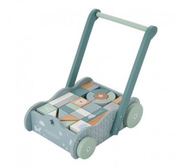 Wózek z klockami Blue - Niebieski - Drewniany Pchacz - Montessori - Little Dutch