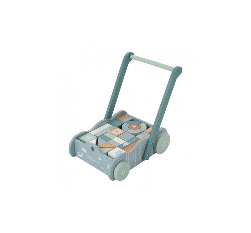 Wózek z klockami Blue - Niebieski - Little Dutch