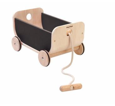 Drewniany wózek wagon - czarny - Plan Toys - Montessori