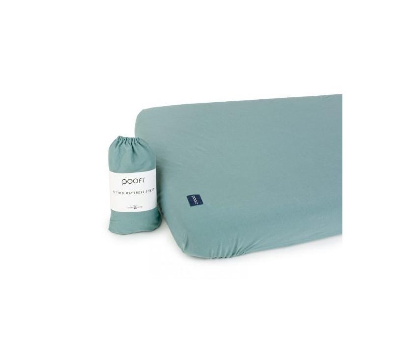 Prześcieradło do łóżeczka Organic & Color - petrol - 60x120 cm - Poofi