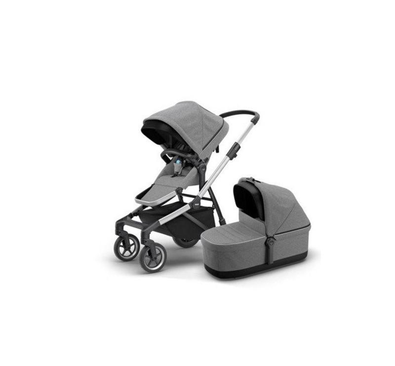 Wózek Sleek - zestaw rama + siedzisko spacerowe + gondola - Grey Melange - Thule