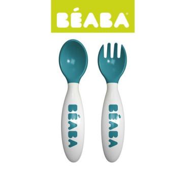 Sztućce plastikowe w etui blue - Beaba