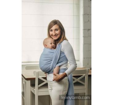 Moja druga chusta do noszenia dzieci, tkana splotem jodełkowym, bawełna - MAŁA JODEŁKA NIEBIESKA - Rozmiar M (4,6 metra) - Lenn