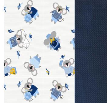 Wkładka do wózka - Thick Stroller Pad - Hello World - Royal Navy - La Millou - Velvet Collection