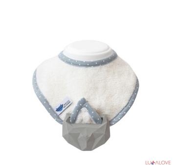 SupeRRO baby hevea biały- śliniak z kauczukowym gryzakiem - LullaLove