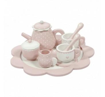 Tea Set - Różowy - Drewniany zestaw do herbaty - Little Dutch