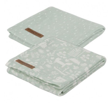 Otulacze dwupak - Adventure Mint - 70x70 cm - Little Dutch