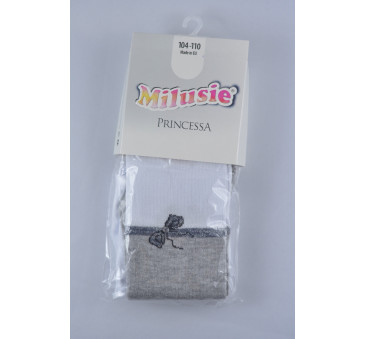 Rajstopy bawełniane - princessa szaro-białe - rozmiar 104/110 - Milusie