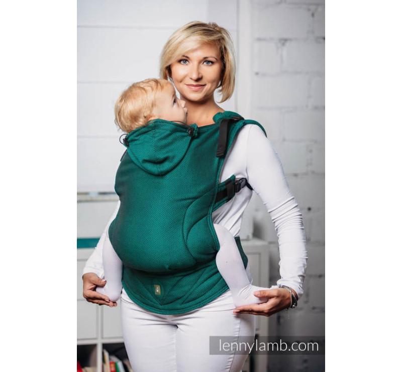 Moje pierwsze nosidełko ergonomiczne - SZMARAGD, splot jodełkowy , Baby size, Druga Generacja - LennyLamb