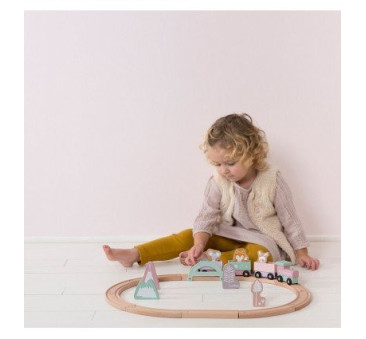 Pociąg z torami Różowy - Little Dutch