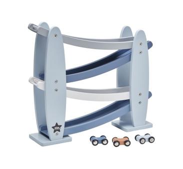 Zjeżdżalnia Drewniana z autkami - niebieska - Kids Concept - Car Track