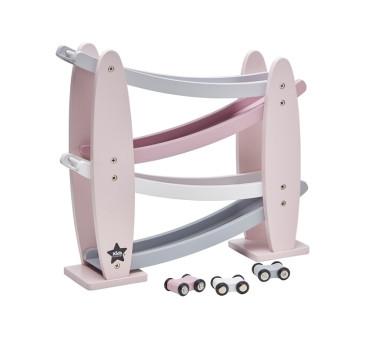 Zjeżdżalnia Drewniana z autkami - różowa - Kids Concept - Car Track