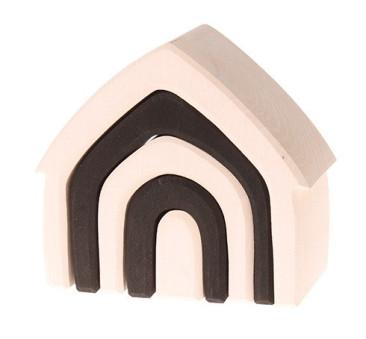 WYPRZEDAŻ ! Czarno-biały domek, kolekcja naturalna 1+ Grimm's Grimms - Zabawka drewniana - Montessori