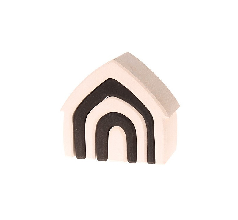 Czarno-biały domek, kolekcja naturalna 1+ Grimm's Grimms - Zabawka drewniana - Montessori
