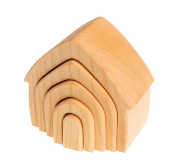 Drewniany domek, kolekcja naturalna, 1+ - Zabawka drewniana - Montessori