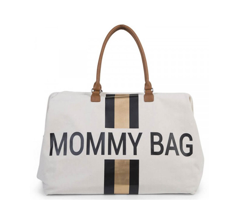 be3b5b334ba70 Torba podróżna Mommy Bag - paski - czarno-złote - Childhome
