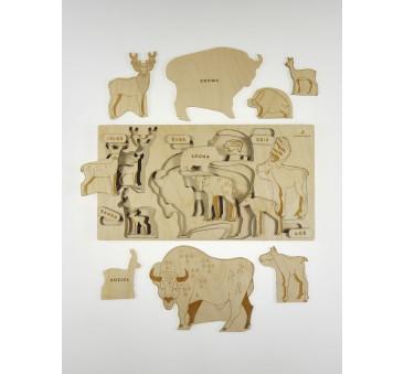 Puzzle drewniane - Co za Łoś - 26x49cm - Montessori - Stuka Puka