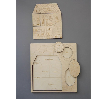 Puzzle drewniane - Stuk, Puk! Kto tam? - 28x30cm - Montessori - Stuka Puka