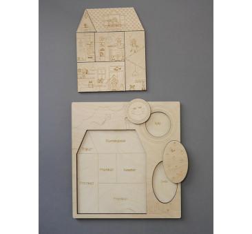 WYPRZEDAŻ Puzzle drewniane - Stuk, Puk! Kto tam? - 28x30cm - Montessori - Stuka Puka