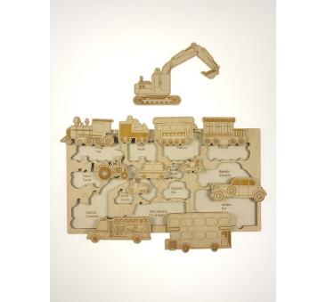 Puzzle drewniane - Wszystko do jazdy - 26x49cm - Montessori - Stuka Puka