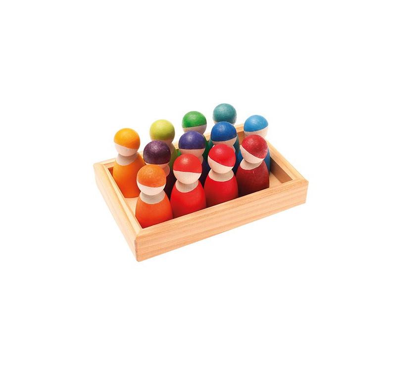 12 drewnianych tęczowych przyjaciół 1+ - Grimm's Grimms - Zabawka drewniana - Montessori