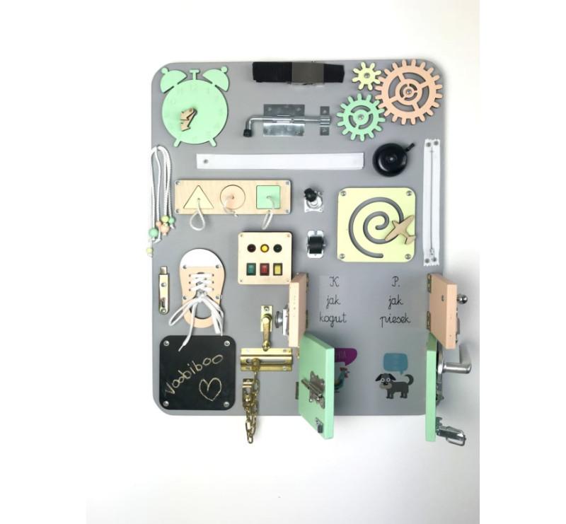 Duża Tablica Manipulacyjna - Szara z Kolorowymi Elementami - Montessori - Woobiboo