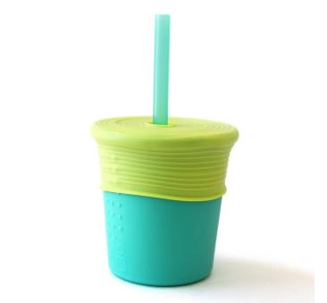 Kubek Silikonowy - Jasno Zielony z Zieloną Słomką - Silikids