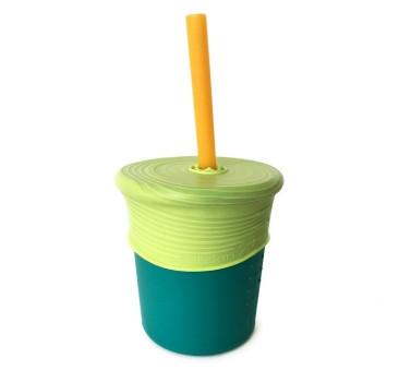 Kubek Silikonowy - Ciemno Zielony z Żółtą Słomką - Silikids