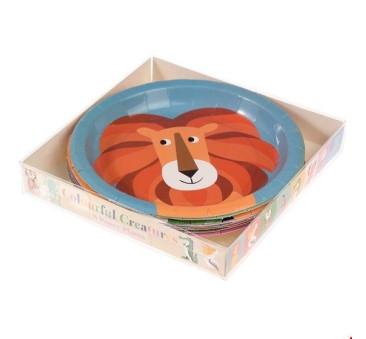 Papierowe Talerzyki - 8 szt. Kolorowe Zwierzaki - Rex London Trade