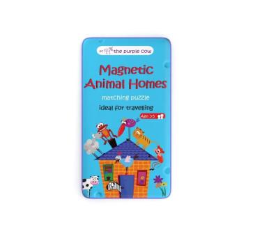 Puzzle Zwierzęta i ich domy - Podróżna gra magnetyczna The Purple Cow